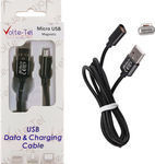 Volte-Tel Braided / Magnetic USB 2.0 to micro USB Cable Μαύρο 1m (VCD07)