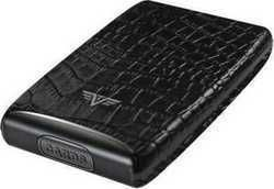 Tru Virtu Credit Card Case Fan Leather Croco Black