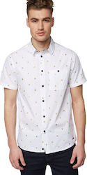 SHORT SLEEVE SHIRT WITH ALLOVER PRINT - ΑΝΔΡΑΣ - ΛΕΥΚΟ