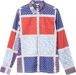 STUSSY Paislay Patchwork L/S Shirt - Blue - 111976