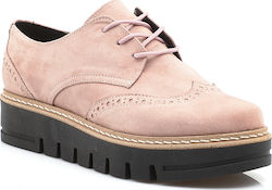 Suede υπόδημα τύπου Oxford με τρακτερωτή flatform σόλα 280 Κ NUDE