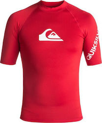 RASHGUARD QUIKSILVER All Time Short Sleeve UPF 50 Quik Red