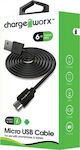 ChargeWorx Regular USB 2.0 to micro USB Cable Μαύρο 1.8m (CX4603)