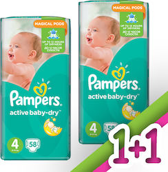 Pampers Active Baby Dry No4 (8-14kg) 2x58τμχ