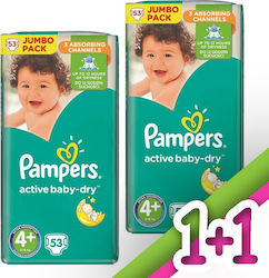Pampers Active Baby Dry No 4+ (9-16kg) 2*53τμχ