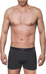 MEN'S BOXER BAMBOO BRIEF WITH PRINT ΜΑΥΡΟ- ΜΑΥΡΟ - W1770-8