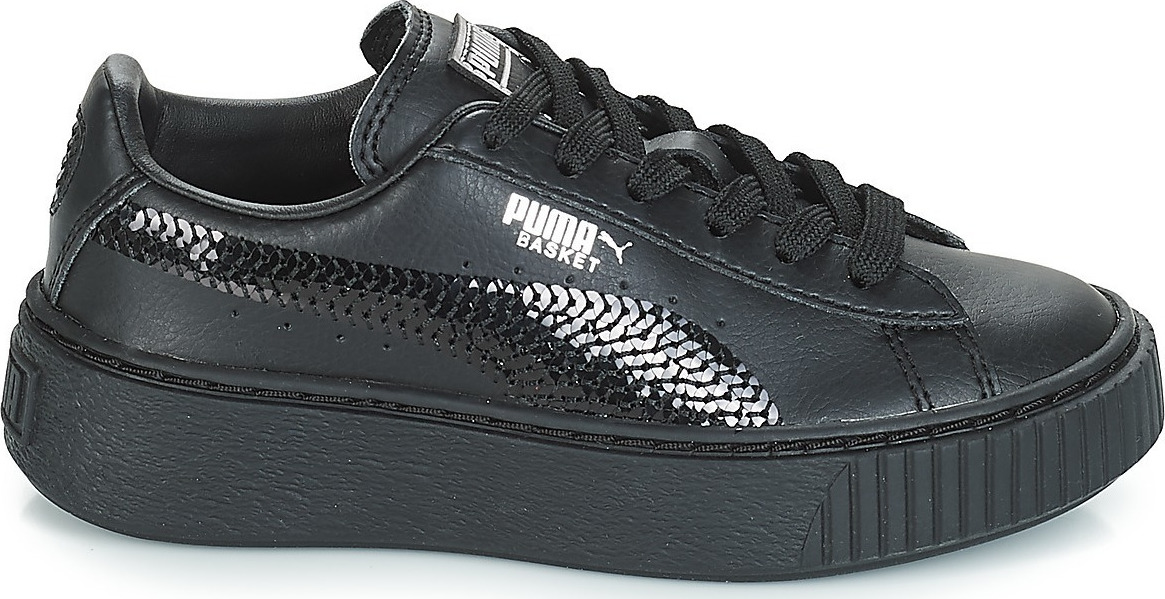 f4e64c6cbd Puma Basket Platform Bling Preschool Girls' Trainers 367238-01