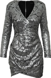 RELIGION W CONNECTION DRESS - 78HCND60-GUNMETAL METALLIC