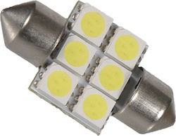 GloboStar C5W 31mm Festoon 6 SMD 5050 Cold White 12V 1τμχ