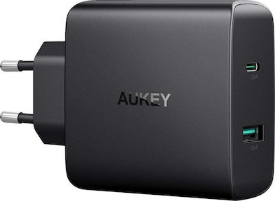 Aukey USB / USB Type-C Wall Adapter Μαύρο (PA-Y10)