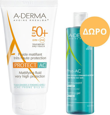 A-Derma Protect AC Fluide Matifiant Tres Haute Protection SPF50+ 40ml & Phys-AC Gel Moussant Purifiant 100ml