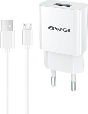 Awei micro USB Cable & USB Wall Adapter Λευκό (C-831)