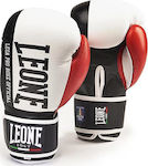 Leone Leather Boxing Gloves Contender GN049 White