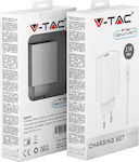 V-TAC micro USB Cable & Wall Adapter Λευκό