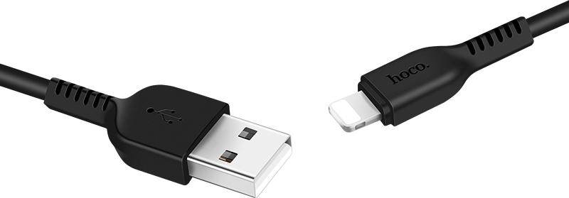 Hoco Regular USB to Lightning Cable Μαύρο 1m (X13)