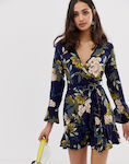 Parisian cross front dress in floral print with self tie belt-Navy