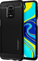 Spigen Rugged Armor Back Cover Σιλικόνης Μαύρο (Redmi Note 9S / 9 Pro / 9 Pro Max)