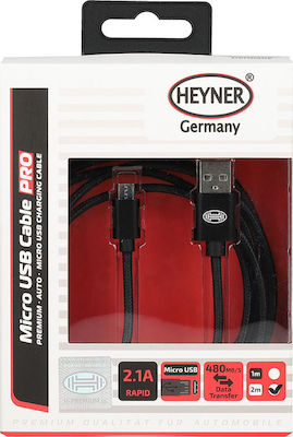 Heyner Regular USB 2.0 to micro USB Cable Μαύρο 2m (511560)
