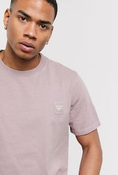 Hi-Tech embroidered badge logo heavyweight t-shirt in mauve-Purple