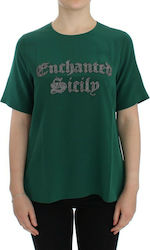 Green silk Enchanted Sicily t-shirt MDC55117
